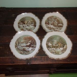 Vintage Currier and Ives Old Homestead Plate set